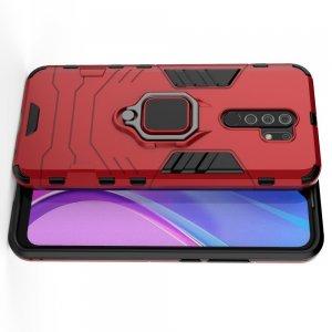 Hybrid Armor Ring Противоударный защитный двухслойный чехол с кольцом под палец подставкой держателем для Xiaomi Redmi 9 Красный
