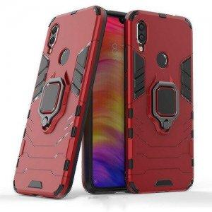 Hybrid Armor Ring Противоударный защитный двухслойный чехол с кольцом под палец подставкой держателем для Xiaomi Redmi Note 7 / Note 7 Pro Красный
