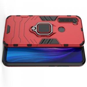 Hybrid Armor Ring Противоударный защитный двухслойный чехол с кольцом под палец подставкой держателем для  Xiaomi Redmi Note 8 Красный