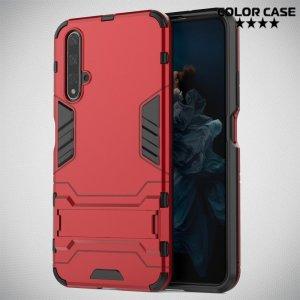Hybrid Armor Ударопрочный чехол для Huawei Nova 5T с подставкой - Красный