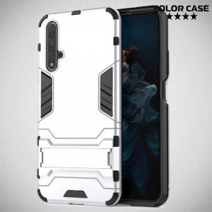 Hybrid Armor Ударопрочный чехол для Huawei Nova 5T с подставкой - Серебряный