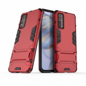 Hybrid Armor Ударопрочный чехол для Huawei Honor 30 с подставкой - Красный