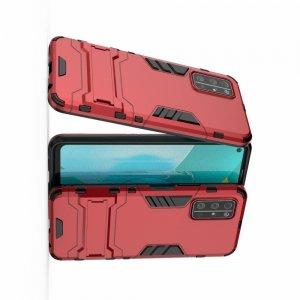 Hybrid Armor Ударопрочный чехол для Huawei Honor 30S с подставкой - Красный