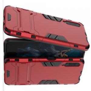 Hybrid Armor Ударопрочный чехол для Huawei Honor 9X / 9X Pro с подставкой - Красный