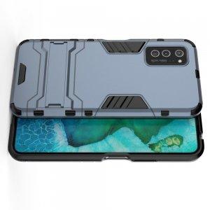Hybrid Armor Ударопрочный чехол для Huawei Honor View 30 / View 30 Pro с подставкой - Синий