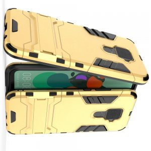 Hybrid Armor Ударопрочный чехол для Huawei Mate 30 Lite с подставкой - Золотой