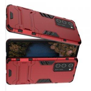 Hybrid Armor Ударопрочный чехол для Huawei P40 Pro с подставкой - Красный