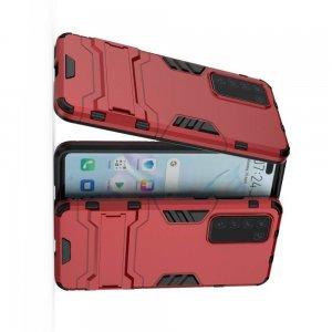 Hybrid Armor Ударопрочный чехол для Huawei P40 с подставкой - Красный