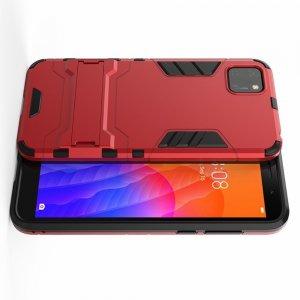 Hybrid Armor Ударопрочный чехол для Huawei Y5p / Honor 9S с подставкой - Красный