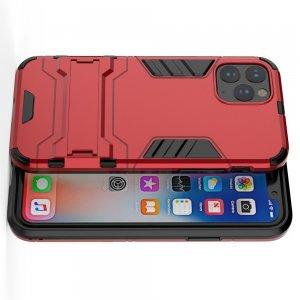 Hybrid Armor Ударопрочный чехол для iPhone 11 Pro Max с подставкой - Красный
