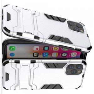 Hybrid Armor Ударопрочный чехол для iPhone 11 Pro с подставкой - Серебряный