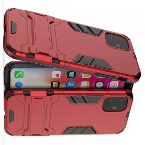 Hybrid Armor Ударопрочный чехол для iPhone 11 с подставкой - Красный