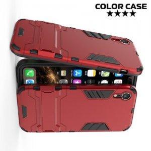 Hybrid Armor Ударопрочный чехол для iPhone XR с подставкой - Красный