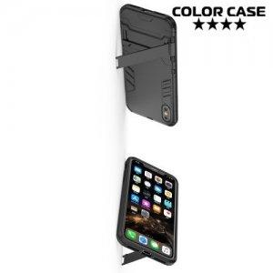 Hybrid Armor Ударопрочный чехол для iPhone XS Max с подставкой - Черный