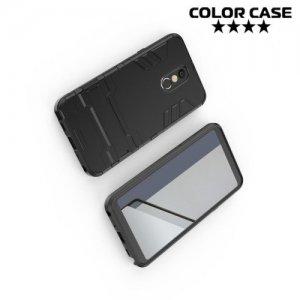 Hybrid Armor Ударопрочный чехол для LG Q Stylus+ Q710 с подставкой - Черный