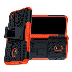Hybrid Armor Ударопрочный чехол для Nokia 2.2 с подставкой - Оранжевый