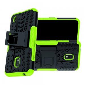 Hybrid Armor Ударопрочный чехол для Nokia 2.2 с подставкой - Зеленый