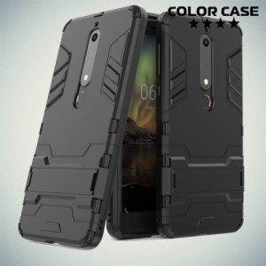 Hybrid Armor Ударопрочный чехол для Nokia 6.1 с подставкой - Черный