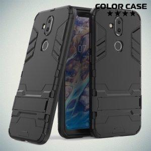 Hybrid Armor Ударопрочный чехол для Nokia 8.1 с подставкой - Черный
