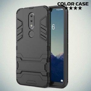 Hybrid Armor Ударопрочный чехол для Nokia 6.1 Plus / X6 2018 с подставкой - Черный