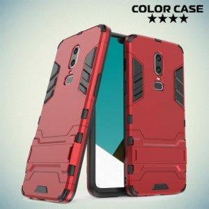 Hybrid Armor Ударопрочный чехол для OnePlus 6 с подставкой - Красный