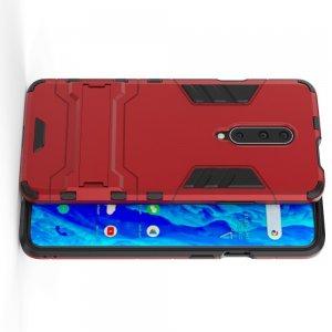 Hybrid Armor Ударопрочный чехол для OnePlus 7T Pro с подставкой - Красный