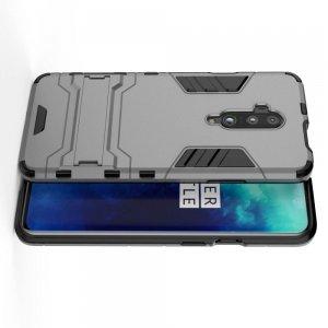 Hybrid Armor Ударопрочный чехол для OnePlus 7T Pro с подставкой - Серый