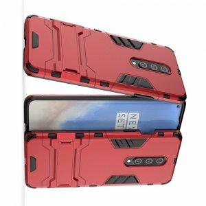 Hybrid Armor Ударопрочный чехол для OnePlus 8 с подставкой - Красный