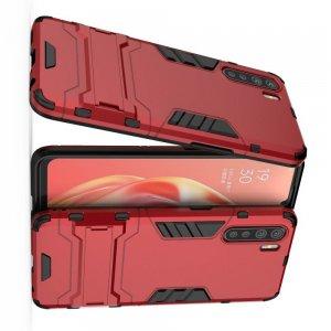 Hybrid Armor Ударопрочный чехол для OPPO A91 с подставкой - Красный
