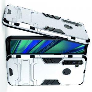Hybrid Armor Ударопрочный чехол для OPPO Realme 5 Pro с подставкой - Серебряный