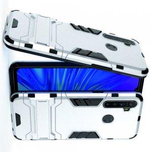 Hybrid Armor Ударопрочный чехол для OPPO Realme 5 с подставкой - Серебряный