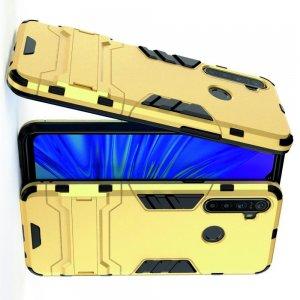 Hybrid Armor Ударопрочный чехол для OPPO Realme 5 с подставкой - Золотой