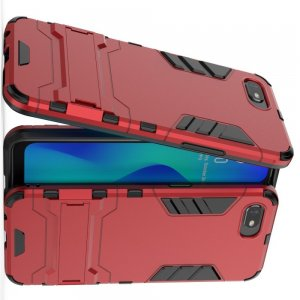 Hybrid Armor Ударопрочный чехол для OPPO Realme C2 с подставкой - Красный