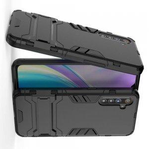 Hybrid Armor Ударопрочный чехол для OPPO Realme XT с подставкой - Черный
