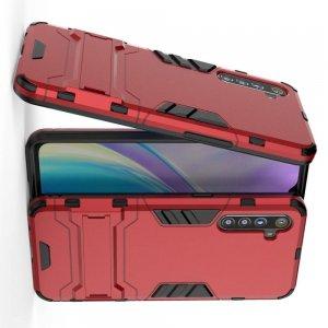 Hybrid Armor Ударопрочный чехол для OPPO Realme XT с подставкой - Красный