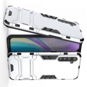 Hybrid Armor Ударопрочный чехол для OPPO Realme XT с подставкой - Серебряный
