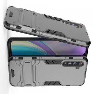 Hybrid Armor Ударопрочный чехол для OPPO Realme XT с подставкой - Серый
