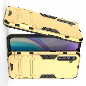 Hybrid Armor Ударопрочный чехол для OPPO Realme XT с подставкой - Золотой