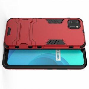 Hybrid Armor Ударопрочный чехол для Realme C11 с подставкой - Красный