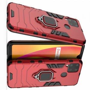 Hybrid Armor Ударопрочный чехол для Realme C15 с подставкой - Красный