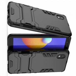 Hybrid Armor Ударопрочный чехол для Samsung Galaxy A01 Core с подставкой - Черный