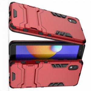 Hybrid Armor Ударопрочный чехол для Samsung Galaxy A01 Core с подставкой - Красный