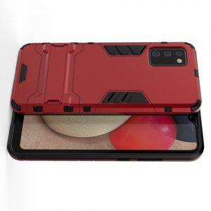 Hybrid Armor Ударопрочный чехол для Samsung Galaxy A02s с подставкой - Красный