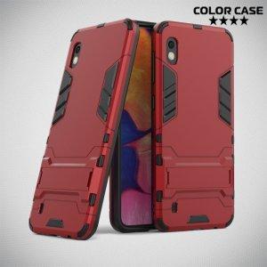 Hybrid Armor Ударопрочный чехол для Samsung Galaxy A10 с подставкой - Красный