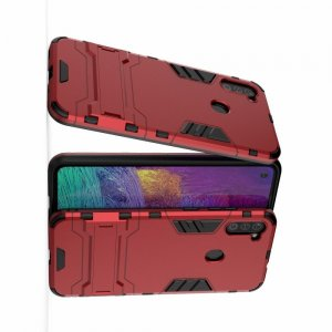 Hybrid Armor Ударопрочный чехол для Samsung Galaxy A11 с подставкой - Красный
