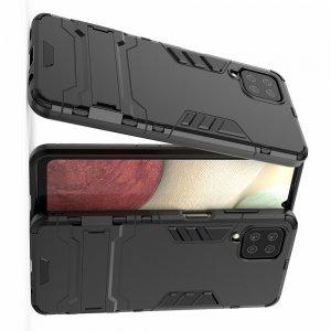 Hybrid Armor Ударопрочный чехол для Samsung Galaxy A12 с подставкой - Черный