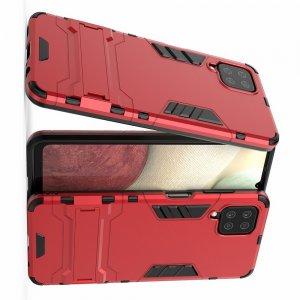 Hybrid Armor Ударопрочный чехол для Samsung Galaxy A12 с подставкой - Красный
