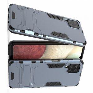 Hybrid Armor Ударопрочный чехол для Samsung Galaxy A12 с подставкой - Синий