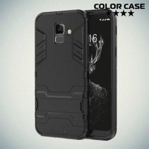Hybrid Armor Ударопрочный чехол для Samsung Galaxy A6 2018 SM-A600F с подставкой - Черный