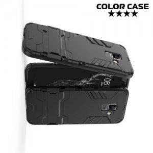 Hybrid Armor Ударопрочный чехол для Samsung Galaxy A6 Plus 2018 с подставкой - Черный